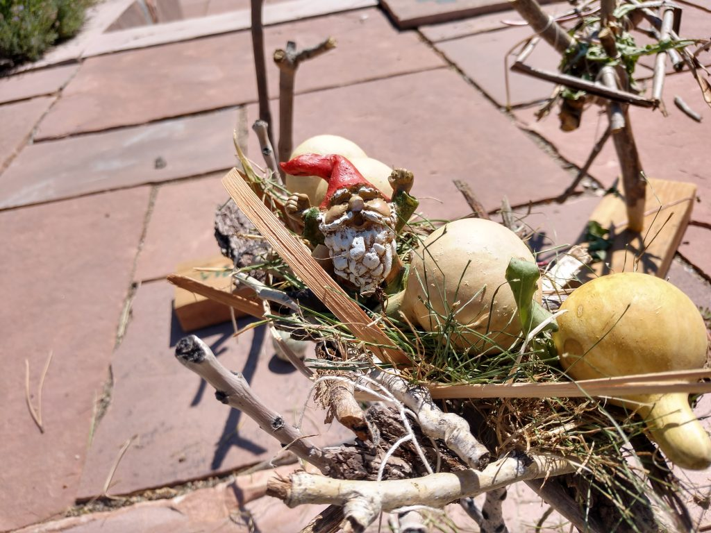 example bird nest with sticks and gourds