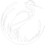 white Blue Heron logo without words